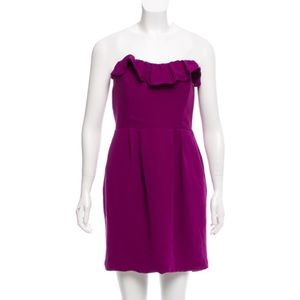 Badgley Mischka Ruffle Trim Strapless Dress 8 NWT